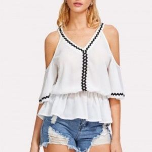 Wildfire Cold Shoulder Blouse White  Large